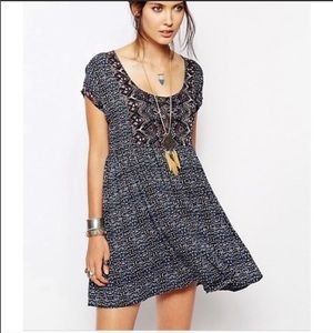 Free people navy sundown babydoll cutout dress